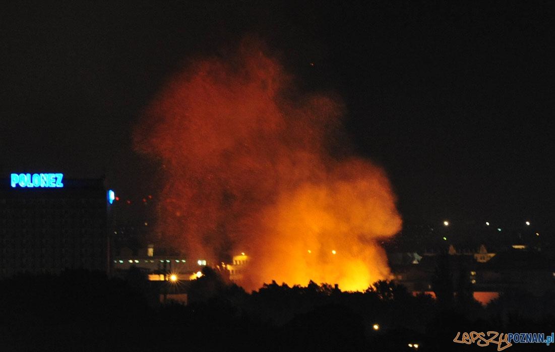 Pożar w centrum Poznania - widziany z Winograd  Foto: Piotr Jarzyński