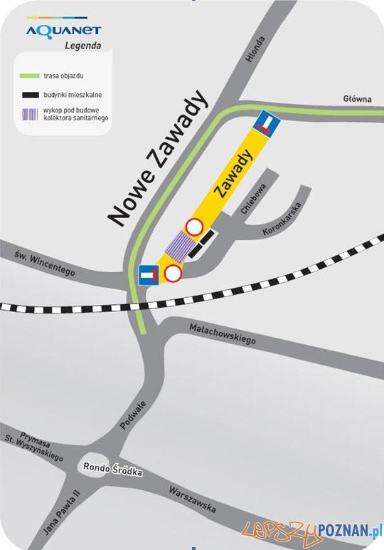 Plan objazdu ulicy Zawady  Foto: Aquanet