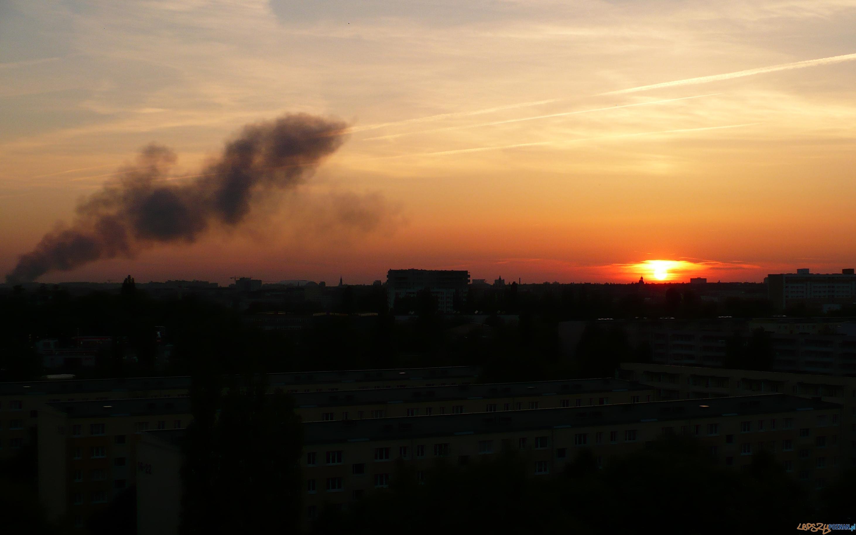 Pożar widziany z os.Bohaterów II Wojny Światowej  Foto: Aldona Richter