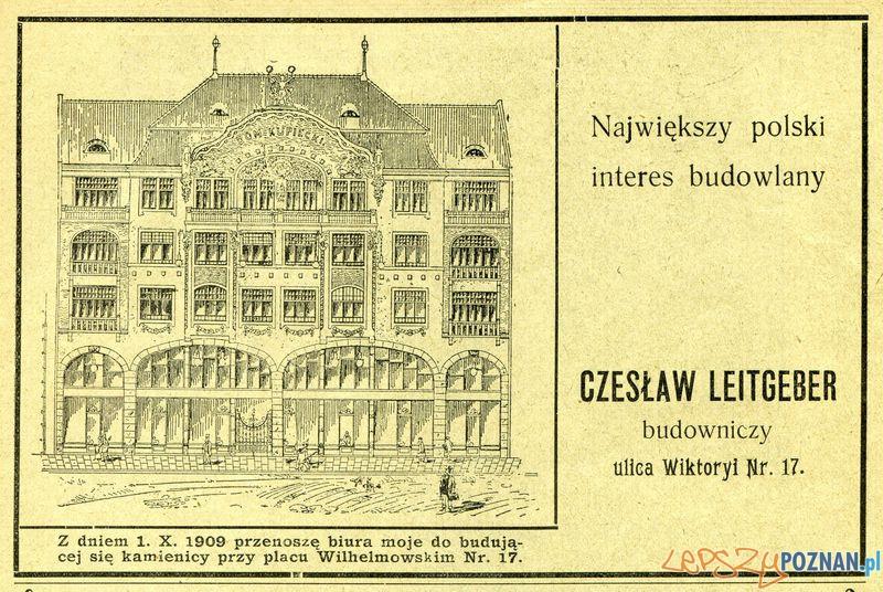 Firma budowlana Czesław Leitgeber, Pl. Wolności 17_ 1909  Foto: Muzeum Narodowe w Poznaniu, wystawa Miejska ikonosfera na drukach reklamowych z widokami Poznania 18