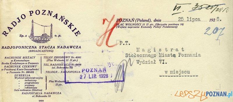 Radio fragment pisma 1928 r. jpg  Foto: Muzeum Narodowe w Poznaniu, wystawa Miejska ikonosfera na drukach reklamowych z widokami Poznania 18