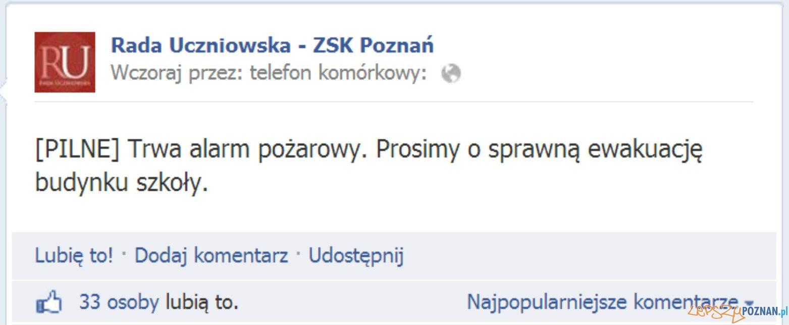 Alarm pożarowy na... facebooku!  Foto: