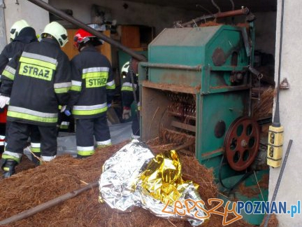 Śmiertelny wypadek przy pracy  Foto: KP PSP Nowy Tomyśl
