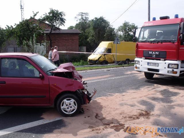 Wypadek w Pobiedziskach  Foto: PSP