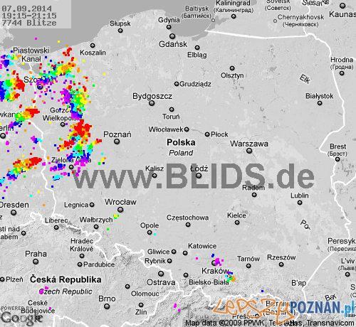 Miejsce występowania burz - stan z godz. 21:15 / 7.09.2014  Foto: blids.de