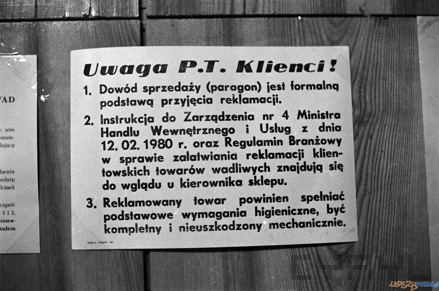 Informacja dla klientów - 1975  Foto: Stanisław Wiktor / Cyryl