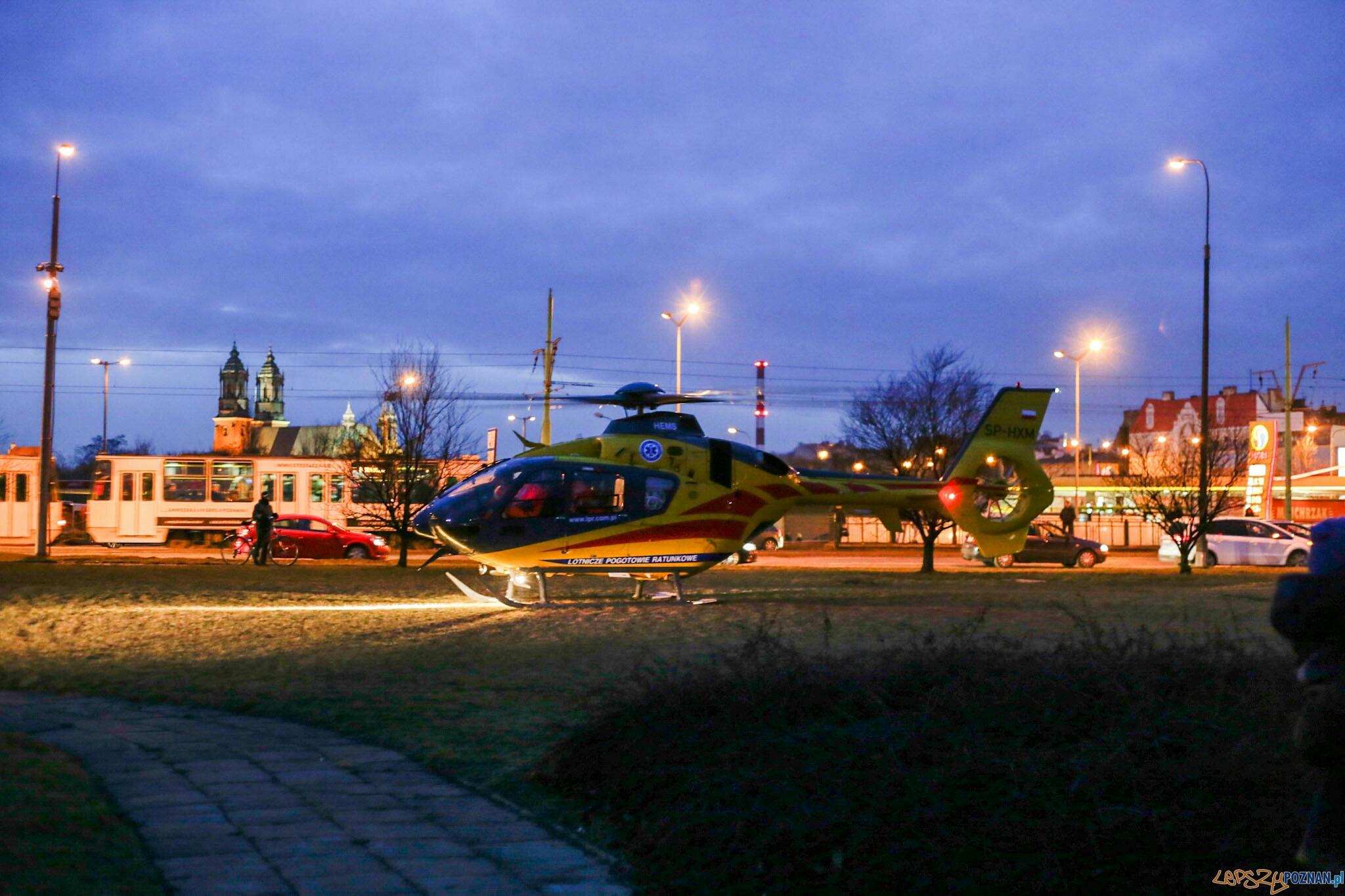 Lądowanie śmigłowca LPR  Foto: lepszyPOZNAN.pl / Piotr Rychter