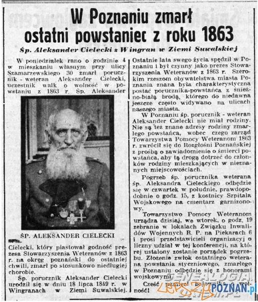Zmarł Aleksander Cielecki  Foto: Oredownik nr 243 z 20.10.1937 za: genealogia.okiem.pl