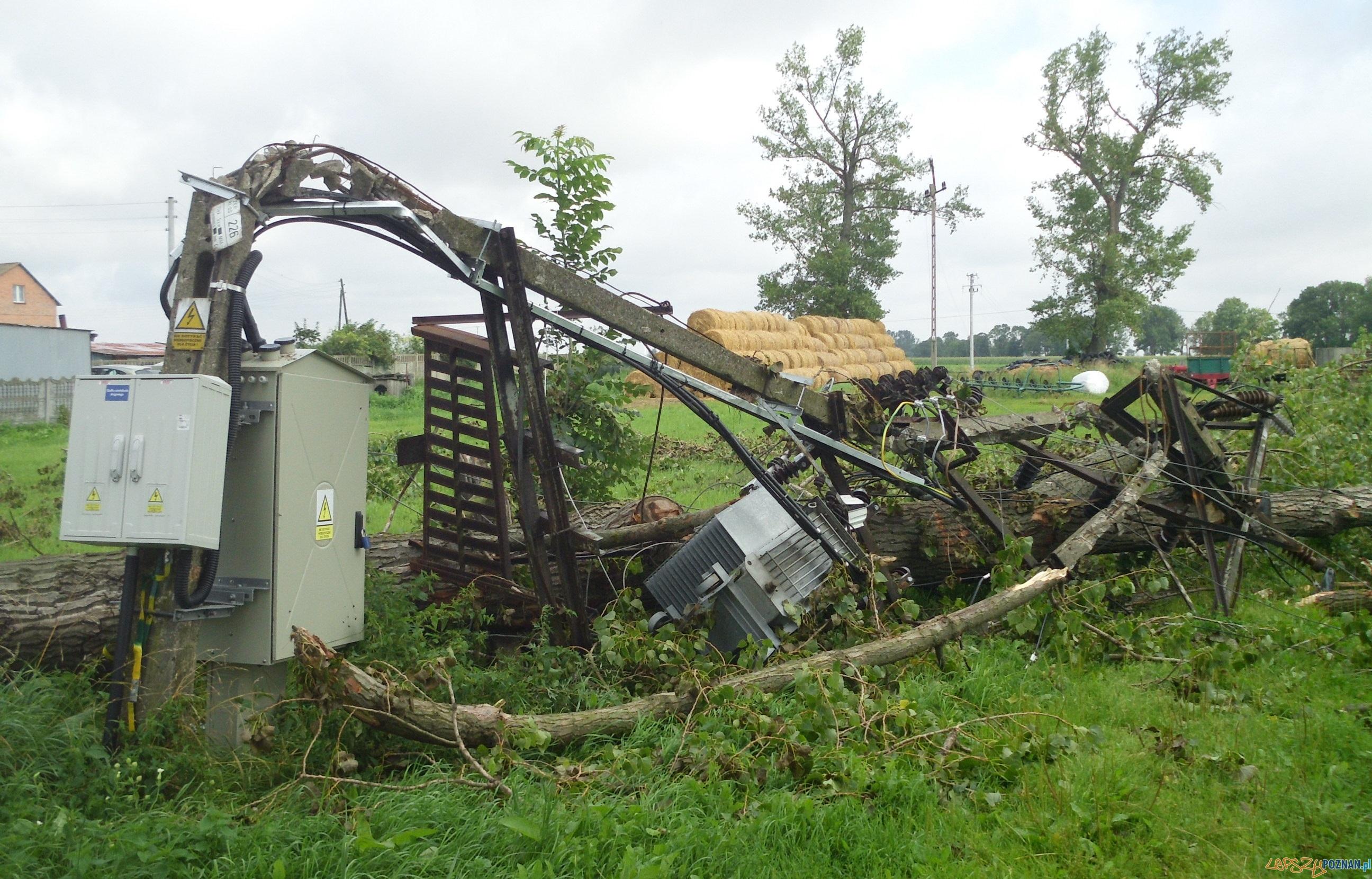 Nadal wiele domów bez prądu po piątkowych nawałnicach - stacja Czechowo (woj. wielkopolskie)  Foto: Enea Operator
