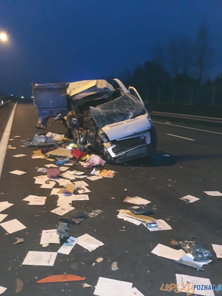 Śmiertelny wypadek na A2  Foto: OSP Gozdowo