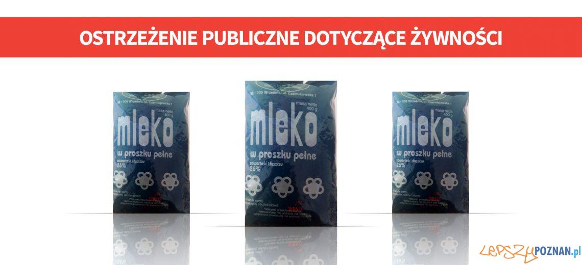 Mleko w proszku wycofane przez GIS  Foto: gis.gov.pl